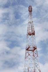 Tall Communication tower on cloudy weather