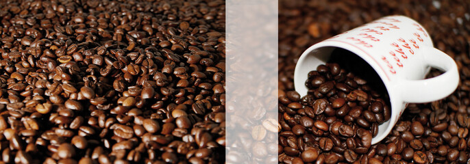 Plakat / Poster Kaffeebohnen mit Kaffeetasse