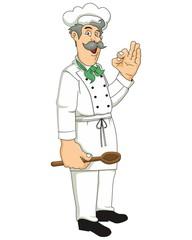 Koch mit Löffel und Mütze