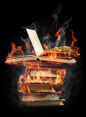 Foto op Aluminium Vlam Burning books