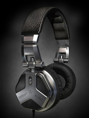 Headphones on black background