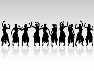 girl dancing black silhouettes
