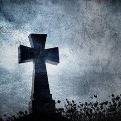 Grunge image of a cross in the cemetery, perfect halloween backg