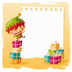 noël - elfe et liste de cadeaux