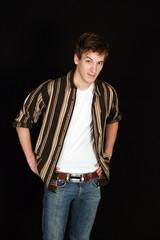 teen guy in striped shirt
