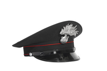 Carabinieri Polizei Hut Freigestellt auf weißem Hintergrund