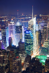 Wall Mural - Times Square aerial view at night