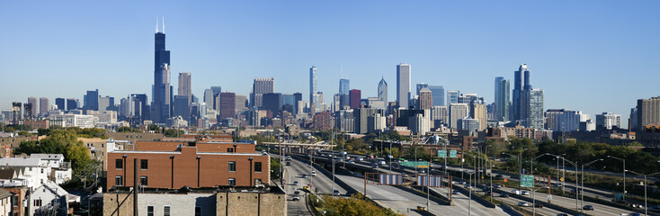 Fototapete - Panoramic view of Chicago from the south