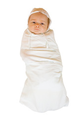 baby in diaper over white background