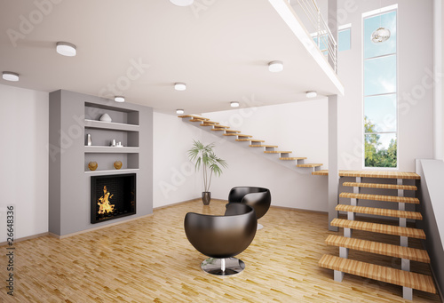 modern wohnzimmer mit kamin interior 3d render stockfotos und lizenzfreie bilder auf fotolia. Black Bedroom Furniture Sets. Home Design Ideas