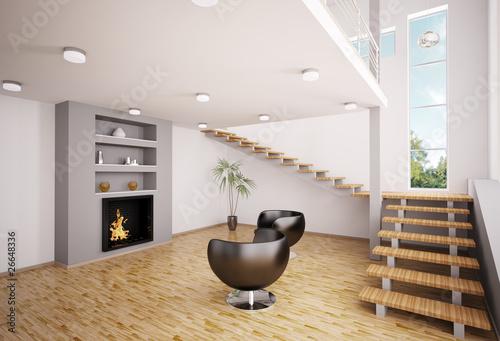 """wohnzimmer kamin kaufen:Modern Wohnzimmer mit Kamin Interior 3d render"""" Stockfotos und"""