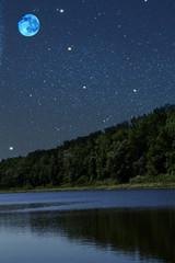 Lake  wood  night  moon