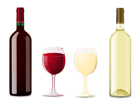 bottle and glass with red white wine