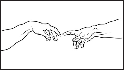 'Creatio Adami'. The Creation of Adam (fragment). A section of Michelangelo's fresco Sistine Chapel ceiling painted c.1511. Detailed vector outline drawing.