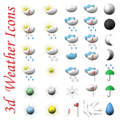 Icons of symbols of weather, it is isolated, 3d.