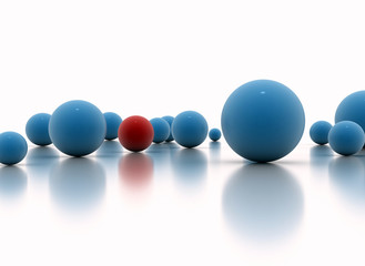Individuality concept - One red sphere standing out