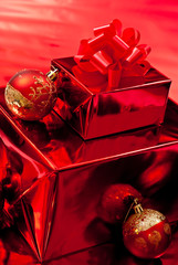 Red christmas gifts and toys