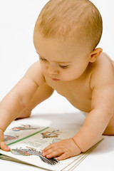 the baby with book