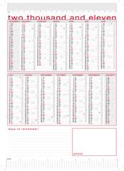 calendario 2011 tecnico con lune e settimane, più righelli