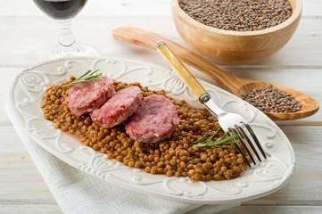 sausage with lentils-cotechino e lenticchie
