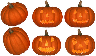 Halloween pumpkins collection + light