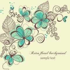 Spoed Fotobehang Abstract bloemen Retro floral background