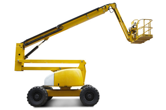 cherry picker - boom lift with clipping path