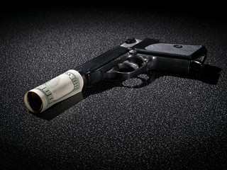 Handgun with imitation of silencer from dollar greenback