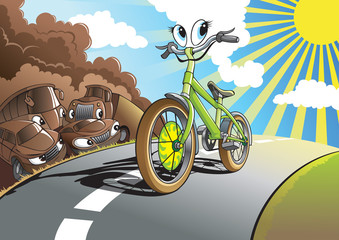 No exhaust: Smiling bicycle rides on the road, vector