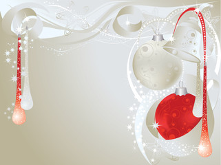Christmas silver background with baubles and bell.