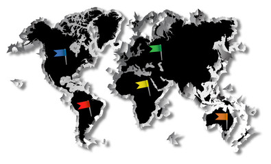 World map and map flags