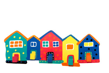 colorful terraced wooden houses isolated white background