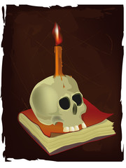 Skull, the book and candle