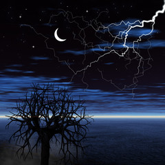 Night 3d landscape with tree and lightning