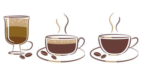 three cups of coffee: espresso, cappuccino, latte