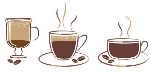 three cups of coffee: espresso, cappuccino, latte
