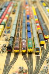 miniature model goods yard full of trains