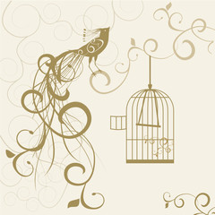 Ingelijste posters Vogels in kooien bird out of the golden cage floral background