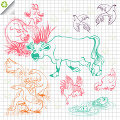 Farm animals vector background