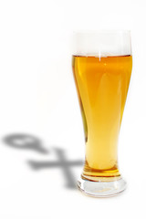Death beer with skull shadow