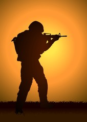 Keuken foto achterwand Militair Stock illustration of a soldier