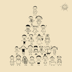 Funny pyramid with happy big family smiling together