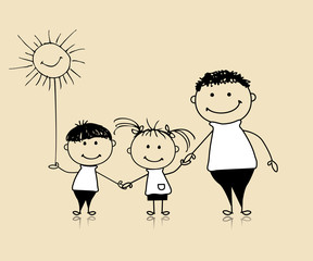 Happy family smiling together, father and children