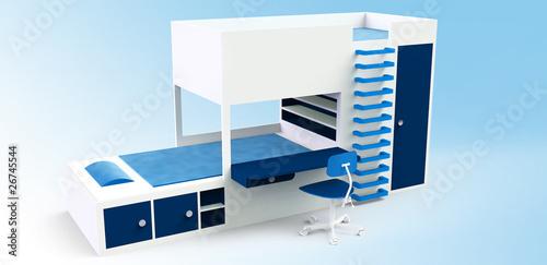 hochbett modern mit einbaukasten und schreibtisch stockfotos und lizenzfreie bilder auf. Black Bedroom Furniture Sets. Home Design Ideas