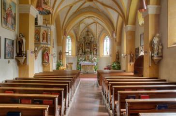 Inside the church of Colfosco, Italy