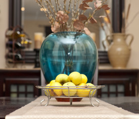 Contemporary Fruit Tray with Apples Centerpiece on Table