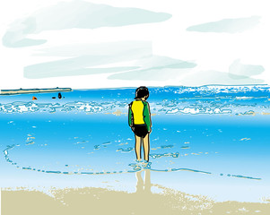 boy & sea