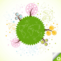 Globe with tree vector background concept