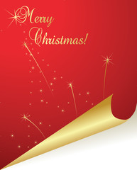 Christmas red paper curl vector background