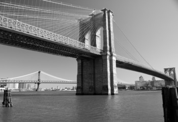 Brooklyn Bridge in Blach & White, New York, USA